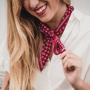 Madewell red floral silk square neck scarf
